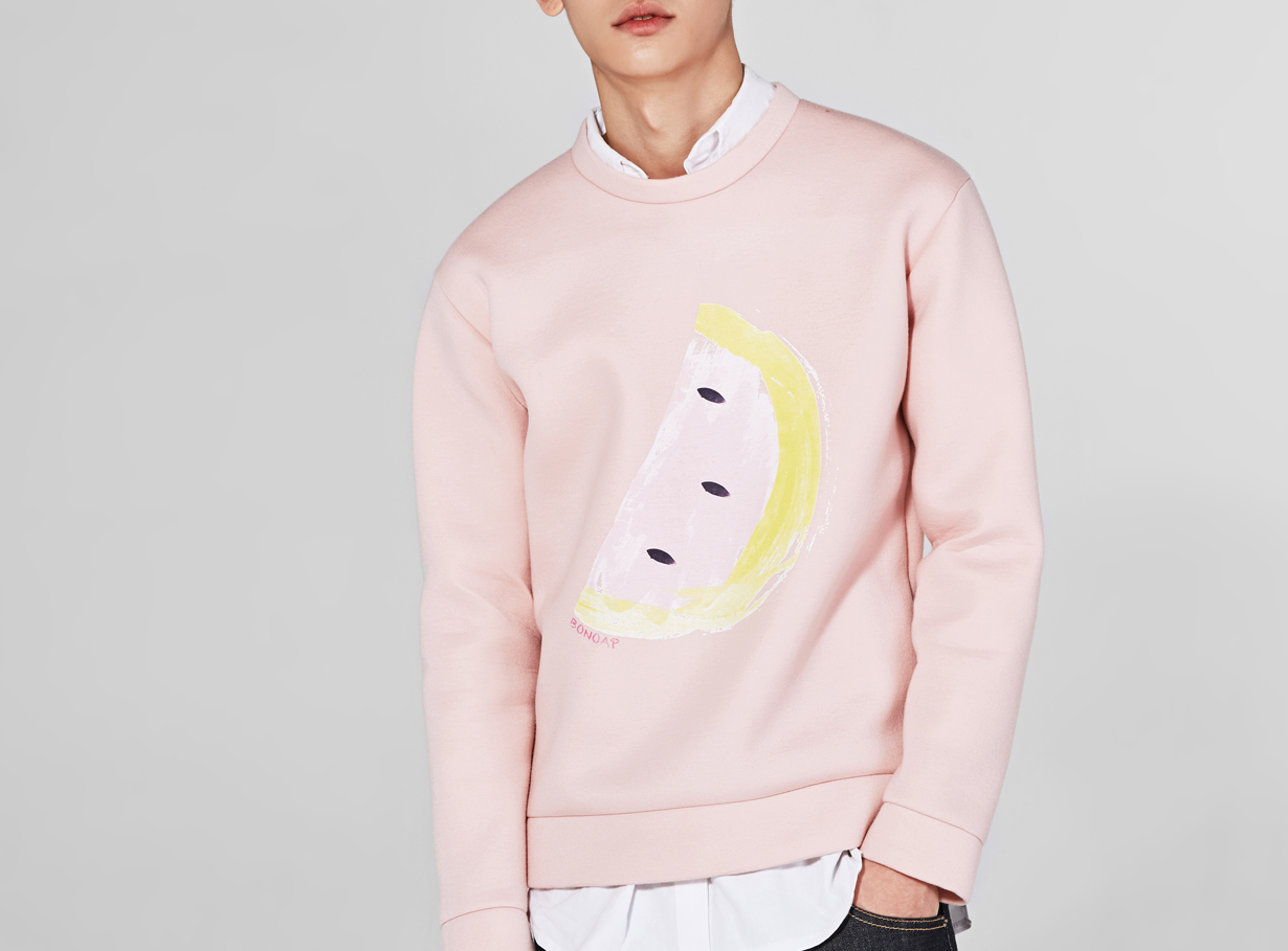 watermelon neoprene sweatshirt