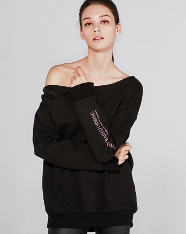 zipper off shoulder sweatshirt