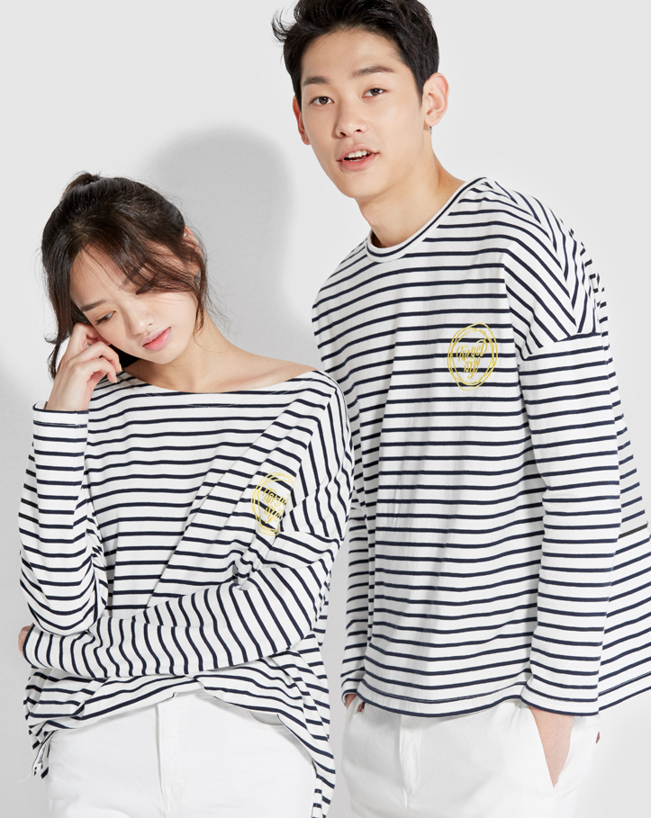 보놉 boatneck stripe loosefit T-shirt